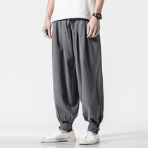 Chinese style mens pants thin section linen casual pants loose straight leg pants pants pants pants pants pants summer