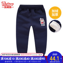 Bohum bear 2019 autumn and Winter new children's casual trousers sports trousers ski Bear plus velvet boys pants