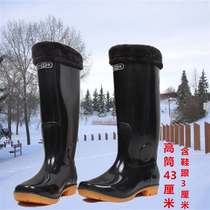 Winter high cylinder rain boots men in the cylinder rain boots and cotton shoes boots seedlings tendon rubber shoes long tube waterproof shoes rubber boots