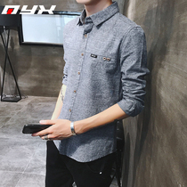 Autumn mens casual shirt Korean version of the trend of self-cultivation long-sleeved shirt young students cotton shirt shirt