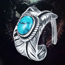 Angel's wish feather Thai silver opening ring engraved Takahashi Goro style natural turquoise men's creative