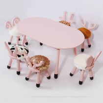 Nordic imported solid wood children sit Pier giraffe sofa chair kindergarten learning tables and chairs baby animal small bench