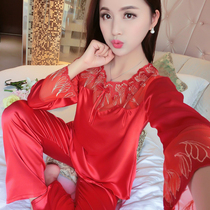 Long-sleeved ice silk pajamas cute spring and summer Korean version of the Big Red Destiny girls silk satin thin section home service