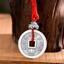 999 sterling silver amulet copper foot silver pendant silver coin to send children baby children safe blessing students