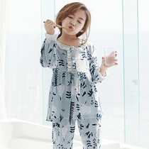Girls pajamas spring and autumn cotton long-sleeved children parent-child mother and daughter girl children's home service thin section suit