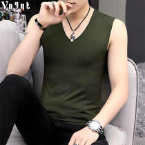 Mens personality seamless stretch vest male summer V-neck solid color sleeveless T-shirt trend sports slim sweat vest