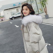 Down cotton women in the long section of the new 2019 Korean version loose hair collar Dongdaemun port wind cotton winter jacket
