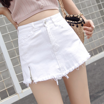 Ji Yue denim skirt female a word high waist anti-light wild thin elastic small skirt 19 summer new tide
