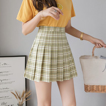 2019 Summer Super fire short skirt female pleated skirt plaid skirt anti-light a word high waist was thin wild ins tide
