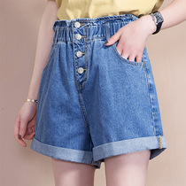Denim shorts female Korean version of the high waist 2019 summer new thin wild wide leg loose breasted hot pants female a word