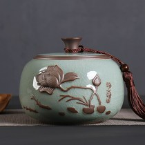 Tea pot creative personality fashion seal tank moisture-proof Japanese ceramic small exquisite European retro home simple