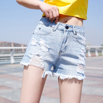 Hole denim shorts female Summer 2019 new thin high waist flash Korean loose students chic super short hot pants