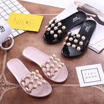 Summer fashion Crystal Beach Pearl word slippers sandals slippers sandals female students Korean version of the wear flat summer