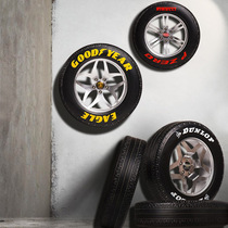 Creative wheel wall tire wall decoration retro industrial wind bar internet cafe KTV wall wall decorations