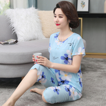 Mom pajamas summer middle-aged cotton silk suit artificial cotton large size thin section home service elderly short-sleeved suit