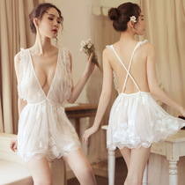 Pajamas summer thin section sexy halter V-neck white suspenders nightdress hot perspective sexy pajamas Midnight Charm