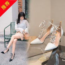 Sandals women 2019 new high-heeled shoes Wild net red sandals women Super fire Fairy Wind summer with a skirt to wear shoes