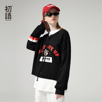 First language fall 2019 new Popeye IP Series loose hit color stripes printing long-sleeved sweater women