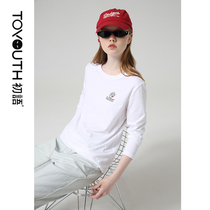 First language fall 2019 new Popeye IP series cartoon embroidery wild white long-sleeved T-shirt female