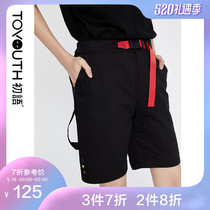 First language 2019 new summer embroidery black lace hit the street style neutral handsome straight shorts female