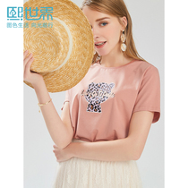 Hee World pink loose thin printing T-shirt female 2019 summer New straight cotton shirt womenS ST151