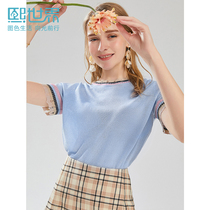 Hee world short-sleeved blue thin section lace sweater 2019 summer new air conditioning shirt loose SW002