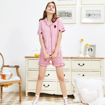Fen Teng summer cotton short-sleeved shorts pajamas sweet girl lapel home service summer thin section can wear suit