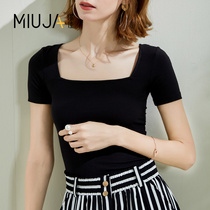 Miao Jia 2019 summer new Solid Color classic casual wild Korean tide was thin word collar short-sleeved T-shirt female