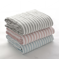 Bai Le washed cotton gauze towel is fine yarn nap blanket Japanese fresh stripes double single casual cover blanket